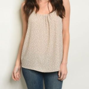Taupe Floral Print Tank